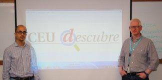 Los investigadores Enric Poch, coordinador de CEU Descubre, y Josep Solves, investigador principal del GIDYC, en al primera sesión de CEU Descubre.