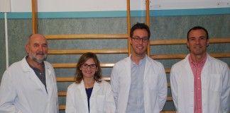 Los investigadores de Fisioterapia de la CEU-UCH Pedro Rosado, Eva Segura, Vicent Benavent y Juan Francisco Lisón, autores del estudio.