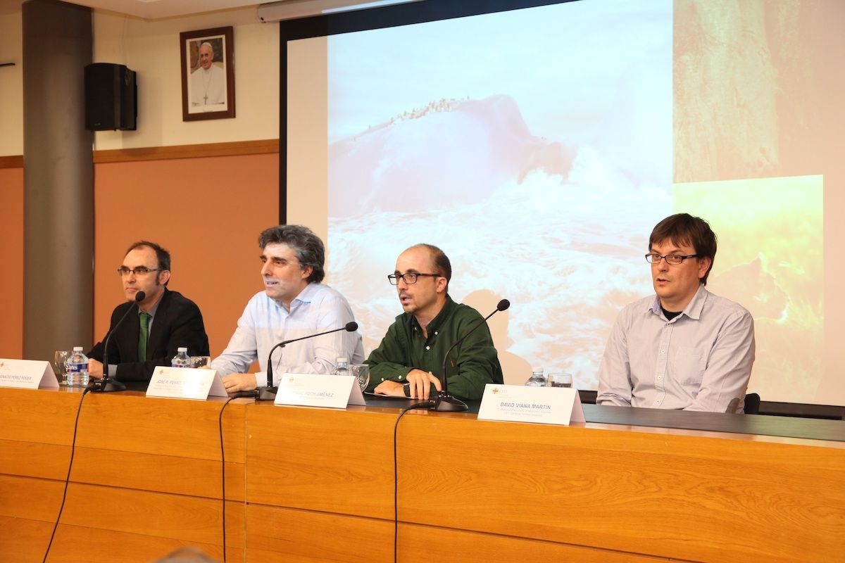 Los profesores Ignacio Pérez, José Penadés, Enric Poch y David Viana, durante la sesión de CEU Descubre.