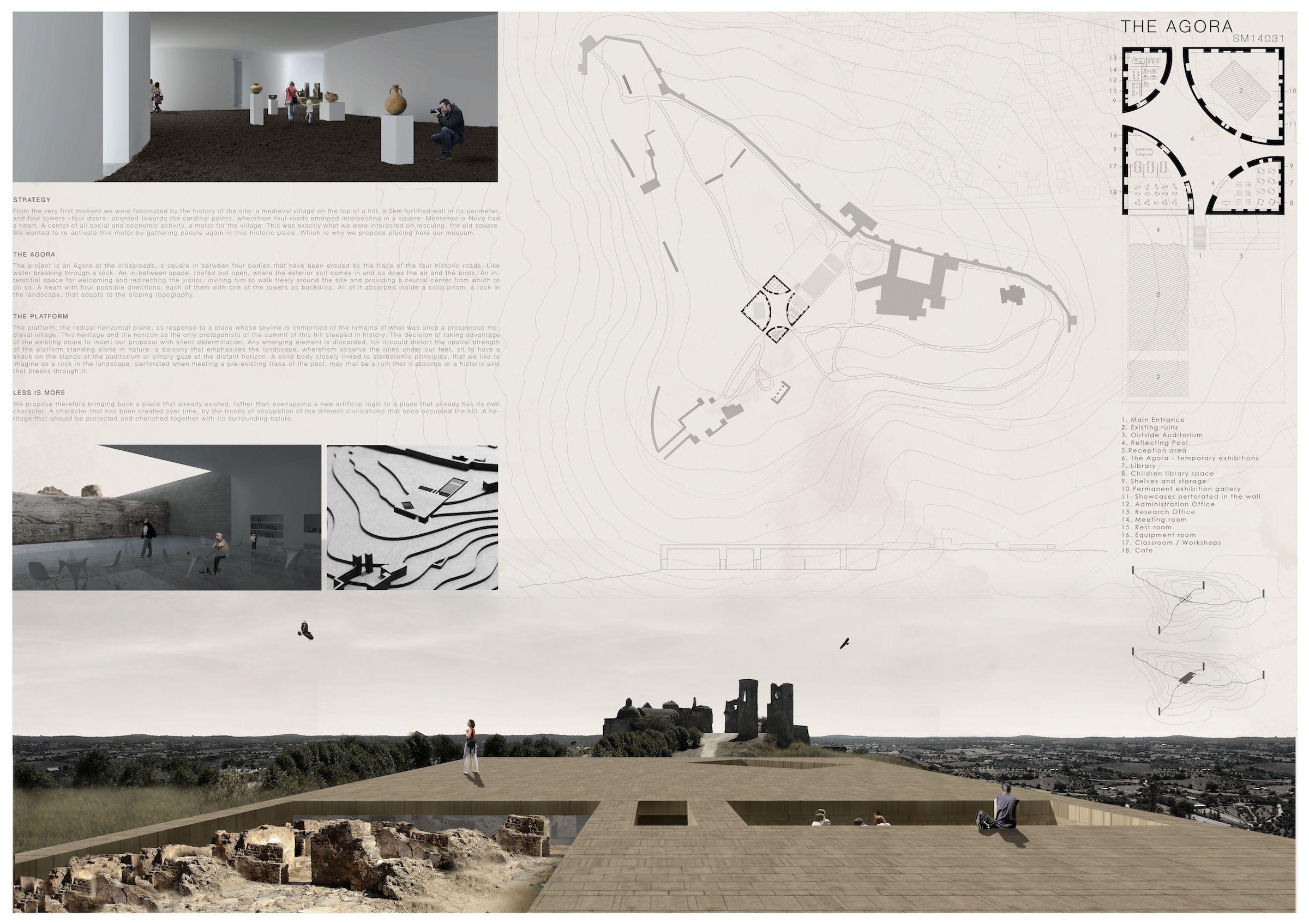 """Panel de """"El Ágora"""", la propuesta de museo arqueológico para Montemor-o-Novo, obra de Francisco Hidalgo, Teresa Sanchis y Álvaro Hidalgo."""