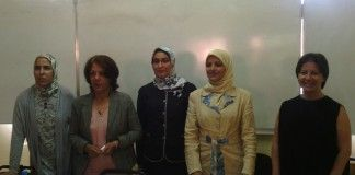 A la derecha, la profesora de la CEU-UCH, Susana Sanz, junto a profesoras de las universidades marroquíes de Caddi Ayyad (Marrakech) y Ibn Zohr (Agadir).