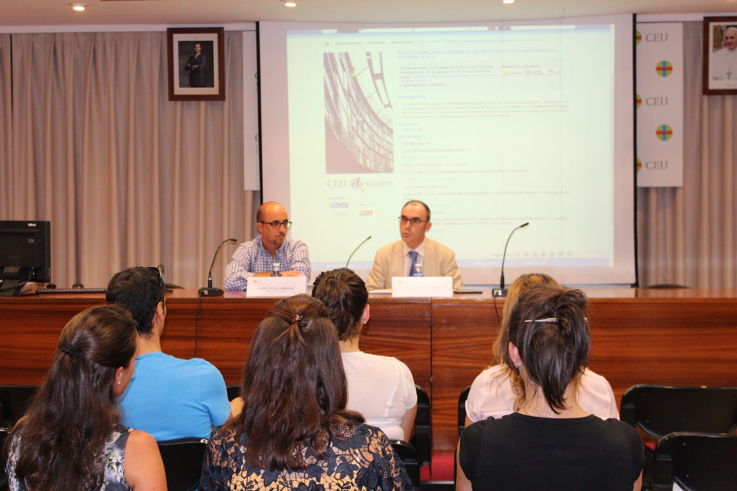 Enric Poch, coordinador de CEU Descubre, e Ignacio Pérez, adjunto al Vicerrectorado de Investigación, en la presentación de la Jornada.