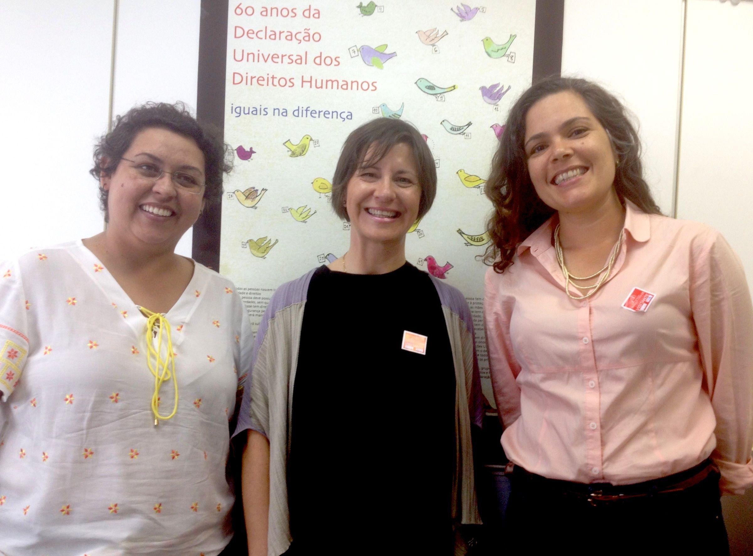 De izq. a dcha., Fernanda Calderaro, coordinadora general de Derechos Humanos de Brasil; la catedrática de la CEU-UCH Susana Sanz; y Luciana García, experta local del Programa Diálogos UE-Brasil en materia de Derechos Humanos, reunidas la pasada semana en Brasilia.