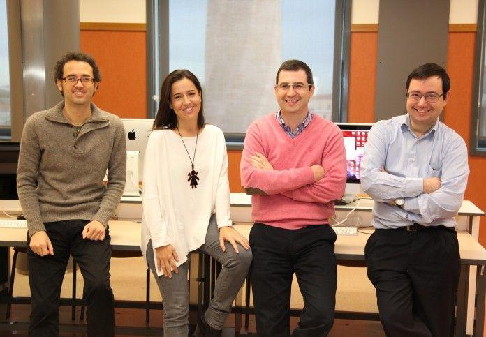 Los profesores de Ingeniería Informática de la CEU-UCH Francisco Zamora, Paloma Botella, Juan Pardo y Javier Muñoz, autores del diseño de algoritmo de predicción de crisis de epilepsia publicado en Brain.