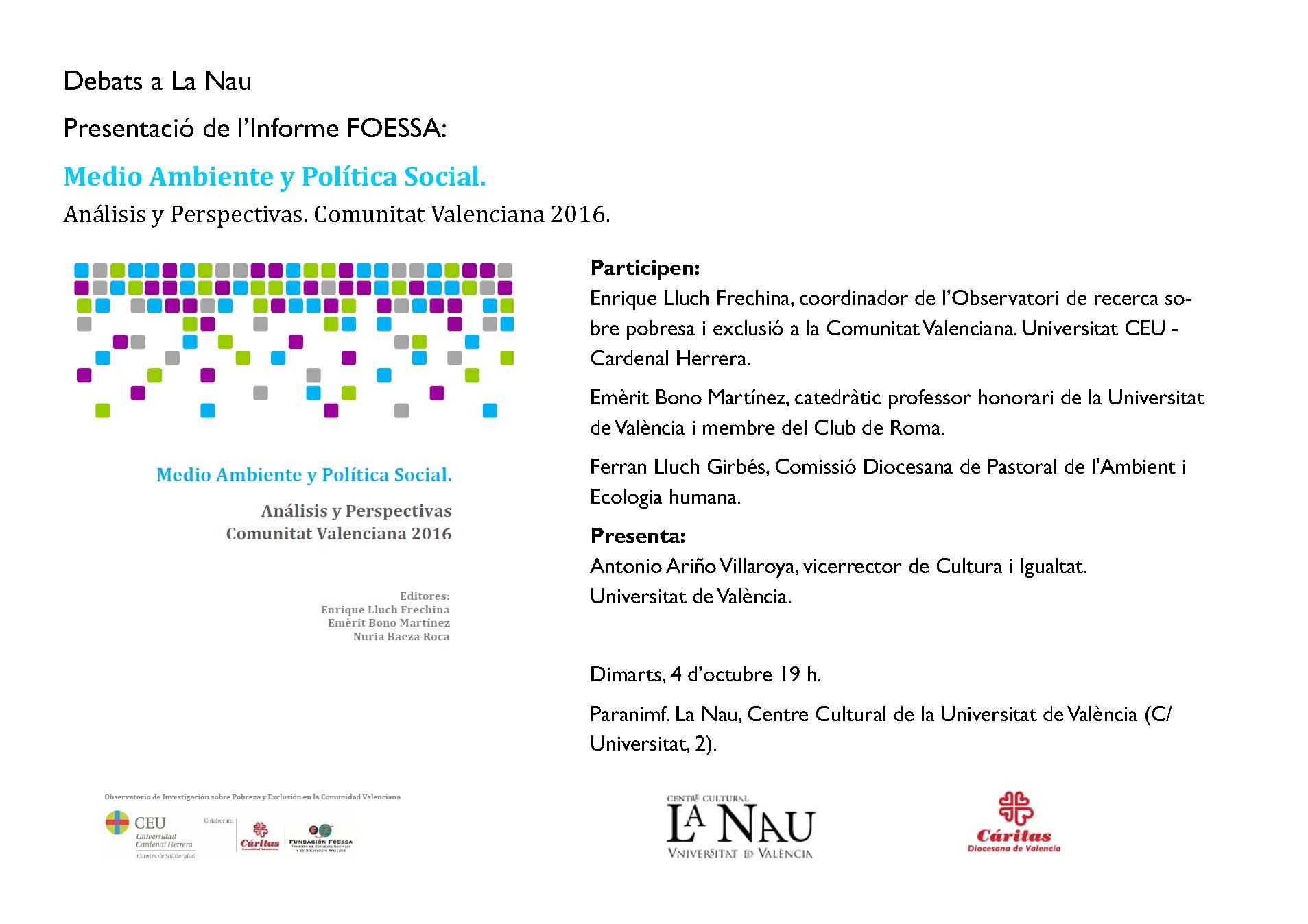 Acto de presentación del Informe, mañana martes, 4 de octubre, a las 19h., en Valencia (La Nau, Paraninf).