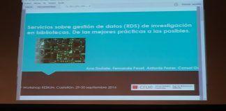 Ana Doñate, de Biblioteca UCH-CEU (2ª izq.), en la presentación de su investigación en el XV Workshop de REBIUN.