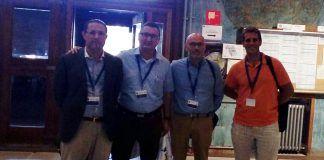 Los profesores de la CEU-UCH Emilio García Sánchez, Jaime Vilarroig, Rafael Fayos y Juan Manuel Monfort, en el XII Congreso Internacional de la Sociedad Hispánica de Antropología Filosófica.