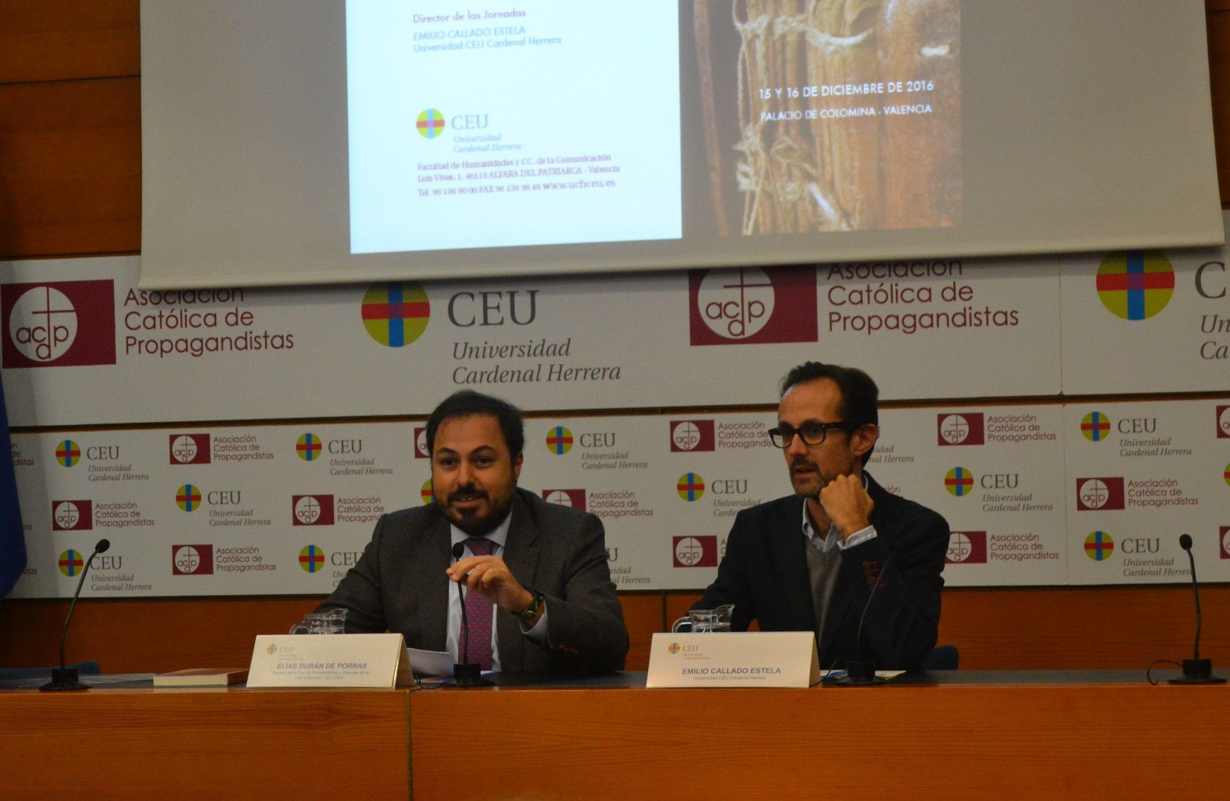 El decano Elías Durán y el director de las Jornadas, Emilio Callado, en la inauguración.