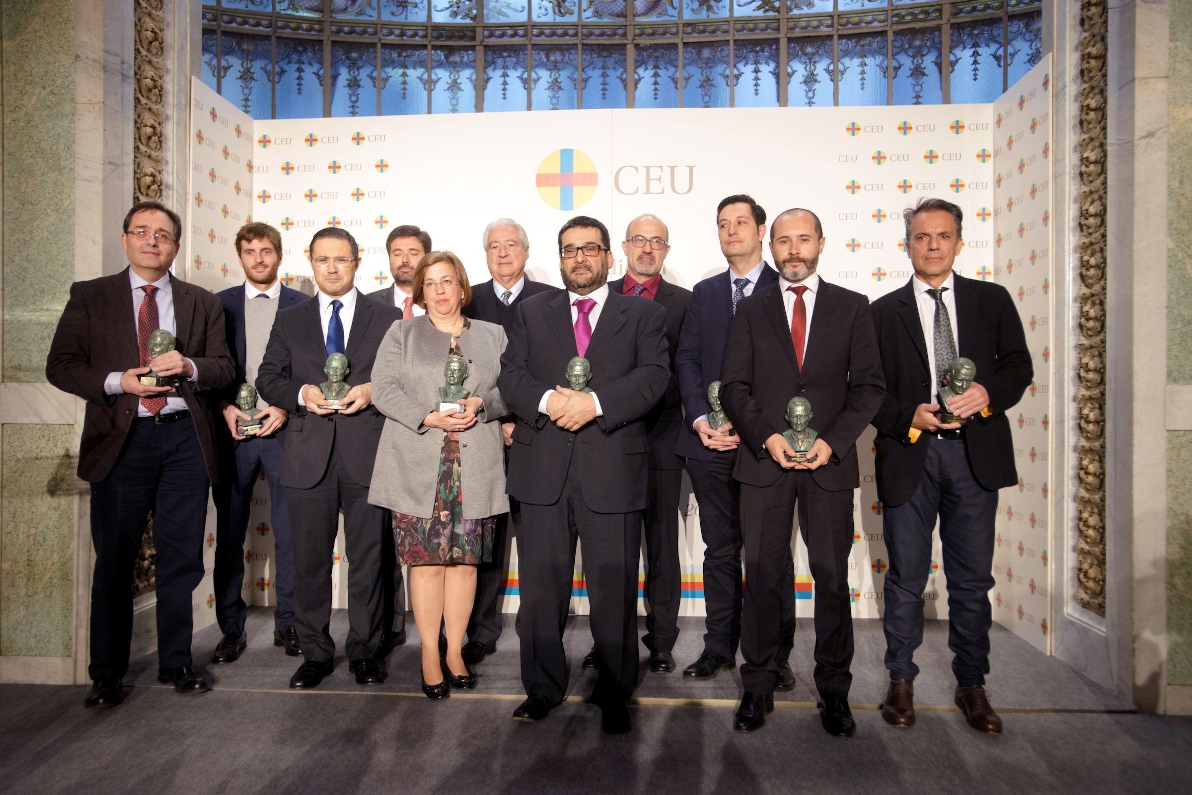 Los premiados por su labor investigadora en la XX edición de los Premios Ángel Herrera.