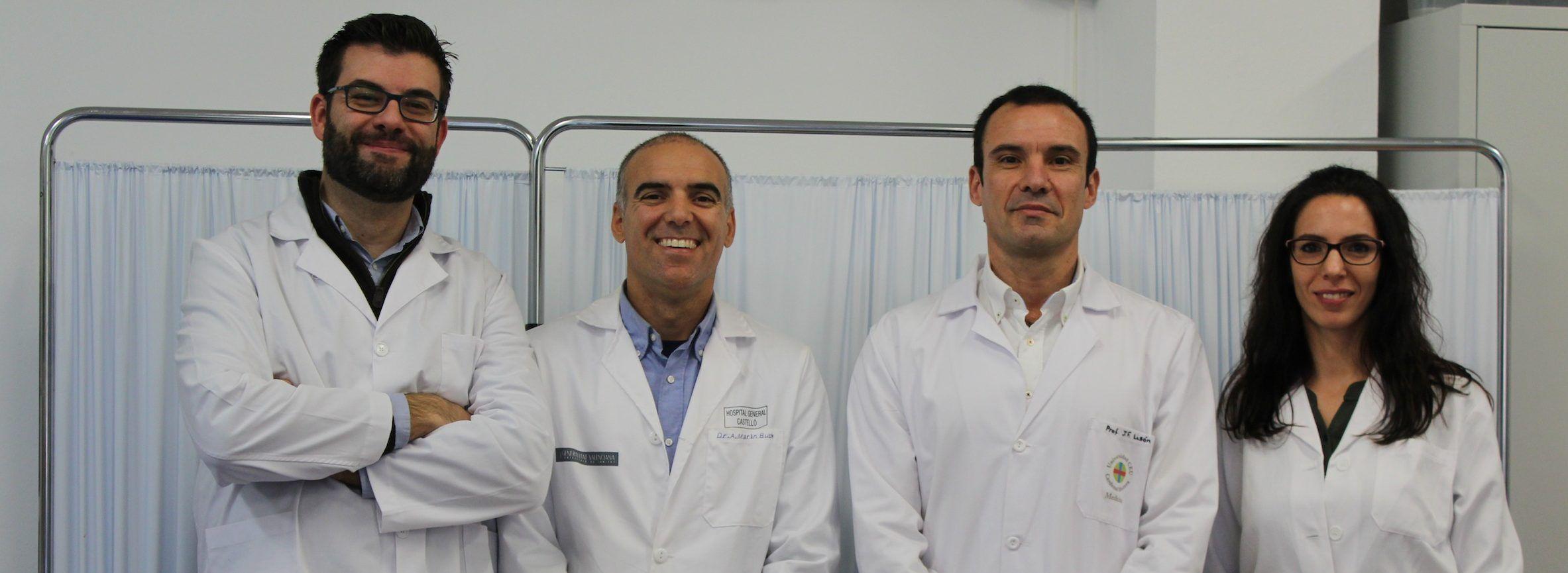 Los investigadores de la CEU-UCH Juan José Amer, Alejandro Marin-Buck, Juan Francisco Lisón y Gemma Bivia, miembros del equipo autor del ensayo clínico sobre uso de TENS en histeroscopias.