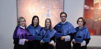 Los investigadores de la CEU-UCH María Miranda, Soledad Navarro, Sara Paradells, José Miguel Soria y María Ángeles García Esparza, autoras y directores de las tesis premiadas.