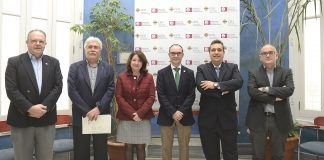 Los vicerrectores de investigación de las universidades valencianas y la gerente de RUVID, en su reunión en el Palacio de Colomina-CEU.