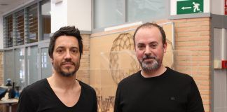 Raúl Climent y Xavi Calvo, de Estudio Menta, en la Escuela de Diseño del CEU.