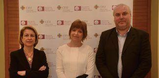 La rectora del CEU-UCH, Rosa Visiedo, la directora general de la CVMC, Empar Marco, y el vicedecano de Comunicación Audiovisual del CEU-UCH, Juan José Bas.