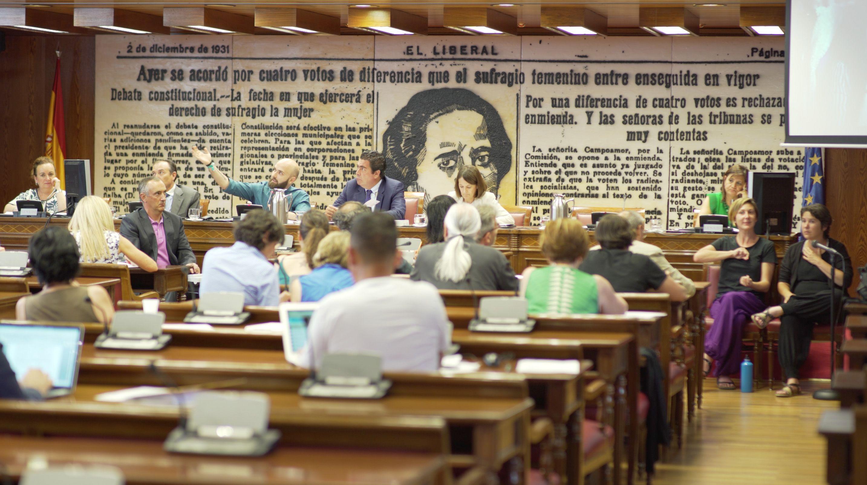 Los 27 senadores de la Comisión de Cultura escucharon la propuesta de accesibilidad para el cine de Miguel Ángel Font.