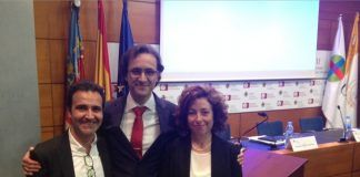 Los doctores Vicente Muedra, Juan Antonio Margarit y Lucrecia Moreno, en la defensa de la tesis.