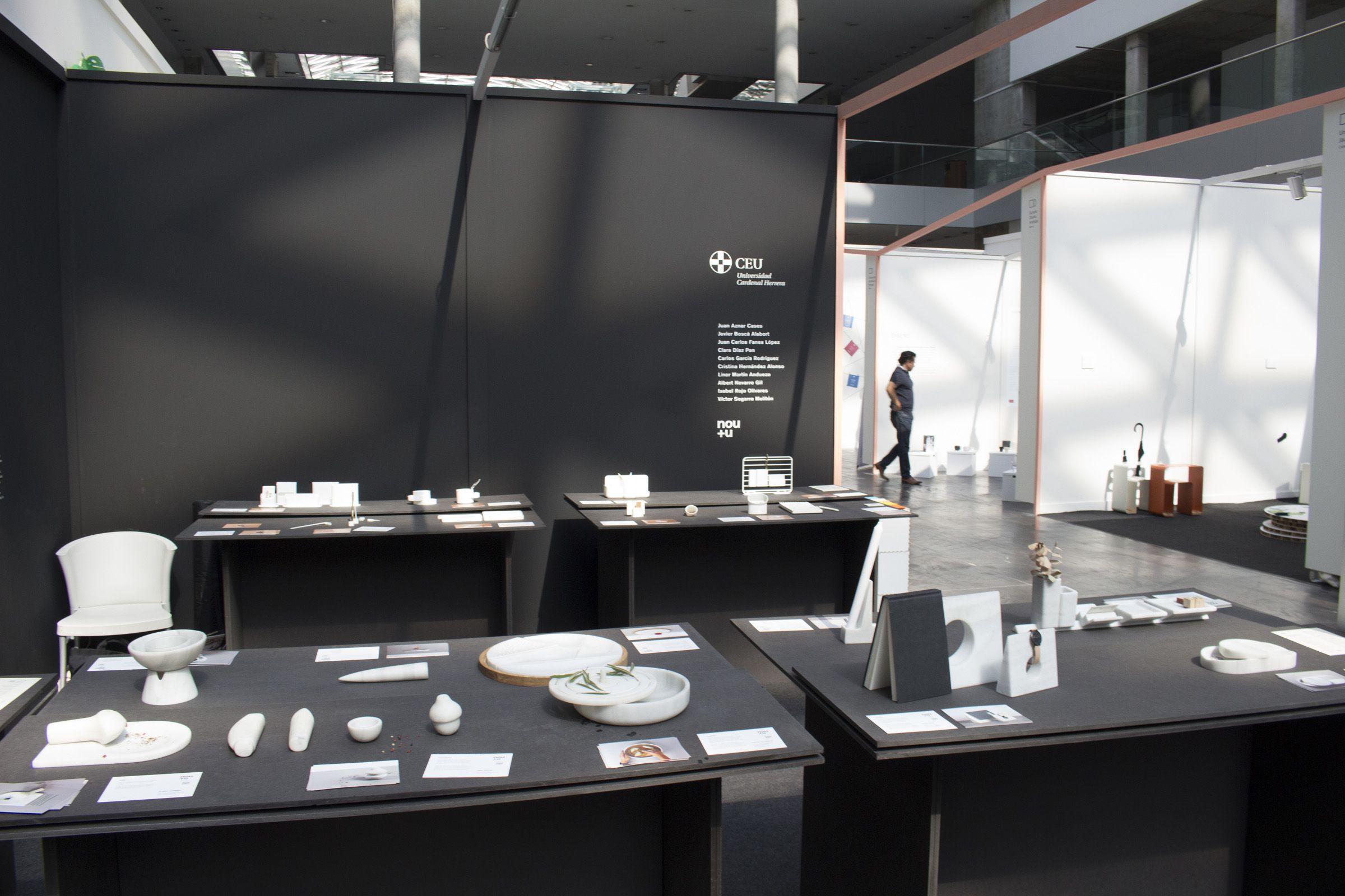 Productos de menaje del hogar de estudiantes del Máster en Diseño de Producto de la CEU UCH, en el stand de Nude 2017.