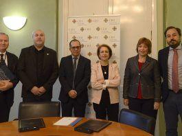 Enrique Soriano, Empar Marco, la rectora de la CEU UCH Rosa Visiedo y los organizadores del Congreso EDIC, inaugurado esta mañana.
