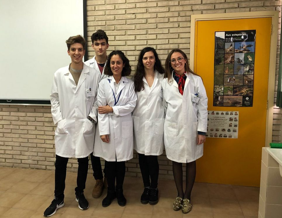 Estudiantes de Farmacia y Veterinaria de la CEU UCH, durante la primera sesión de formación del proyecto SWI-CEU en el colegio Santa María del Puig.