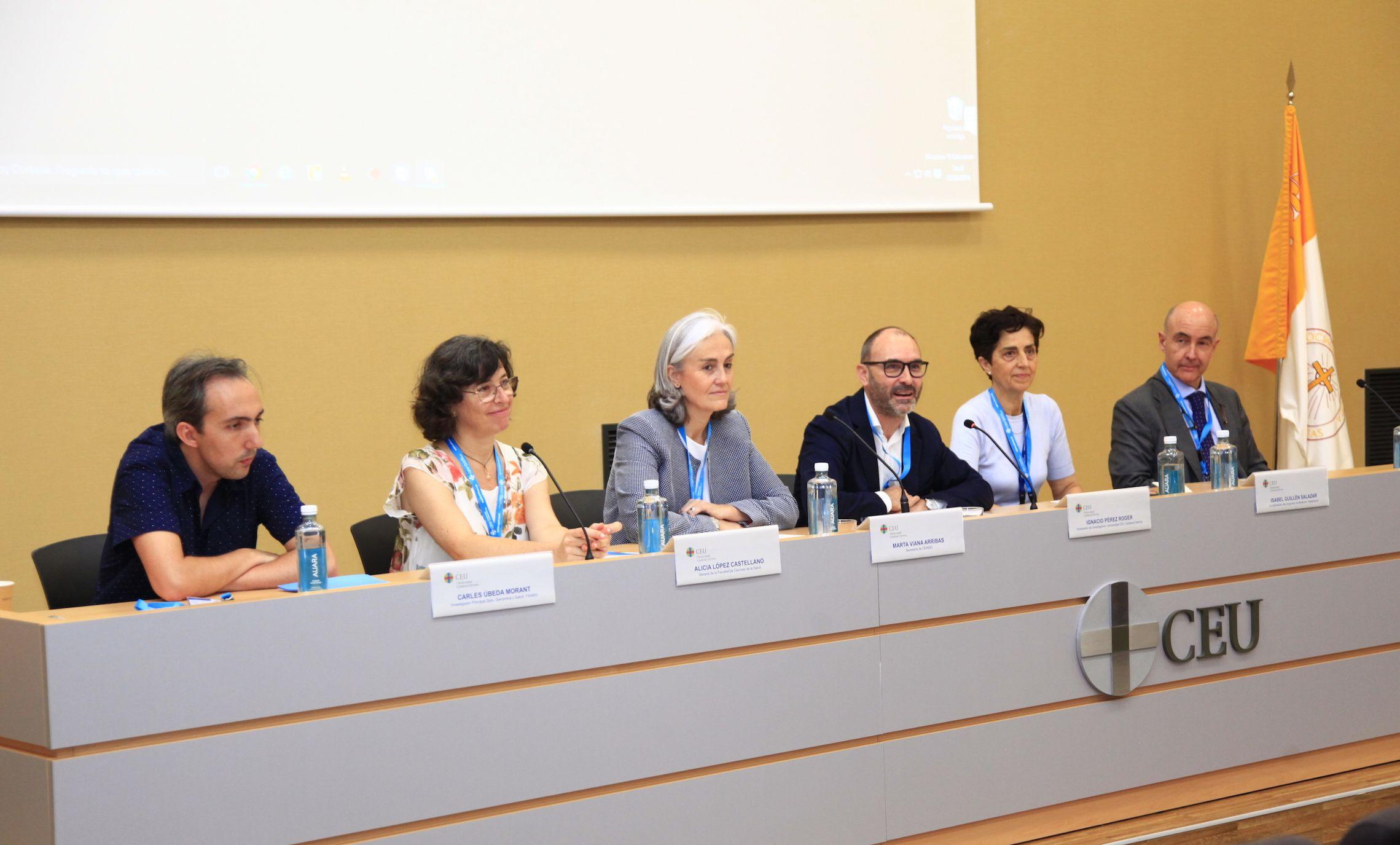 Inauguración de la Jornada Predoctoral, con Carles Úbeda, Alicia López, Marta Viana, Ignacio Pérez, Isabel Guillén y José Luis Lavandera.