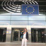 Sara Barquero, directora de la Escuela de Diseño del CEU, en la jornada sobre diseño valenciano celebrada en el Parlamento Europeo.