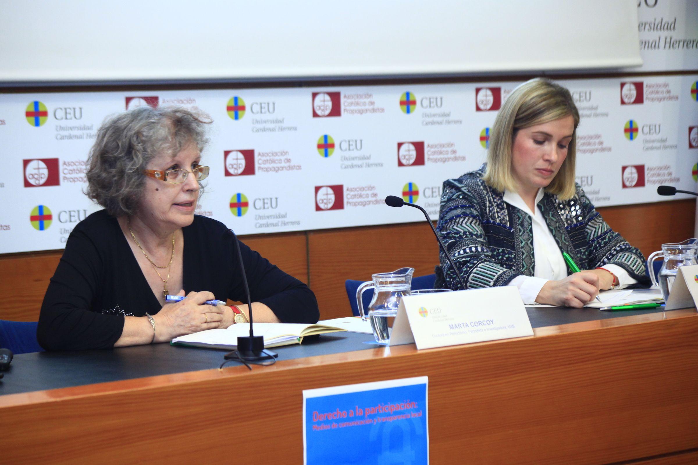 Marta Corcoy, periodista e investigadora de la Universidad Autónoma de Barcelona, en el acto de presentación del Observatorio.