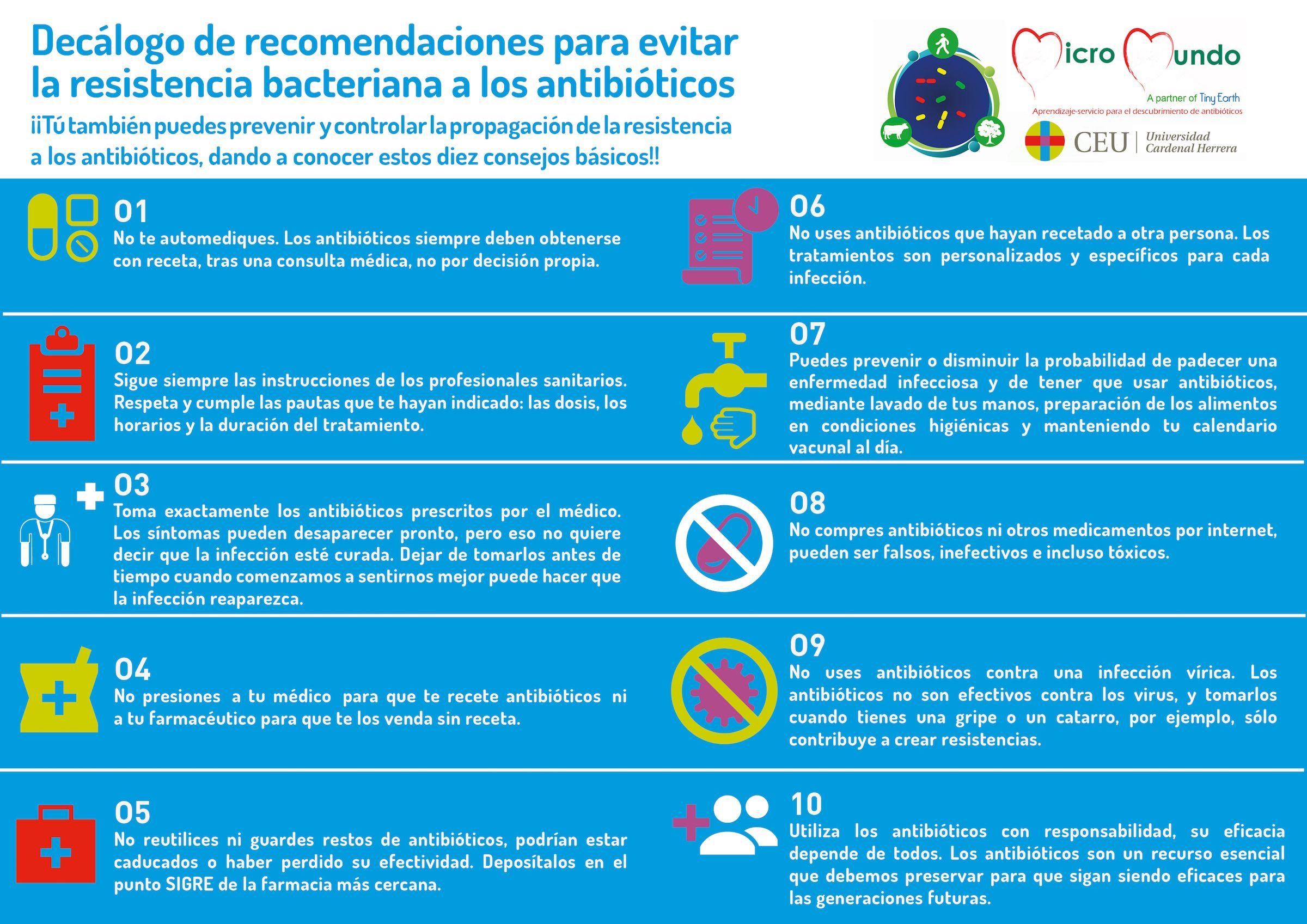 Decálogo de recomendaciones para evitar la resistencia bacteriana a los antibióticos, del equipo SWI@CEU.