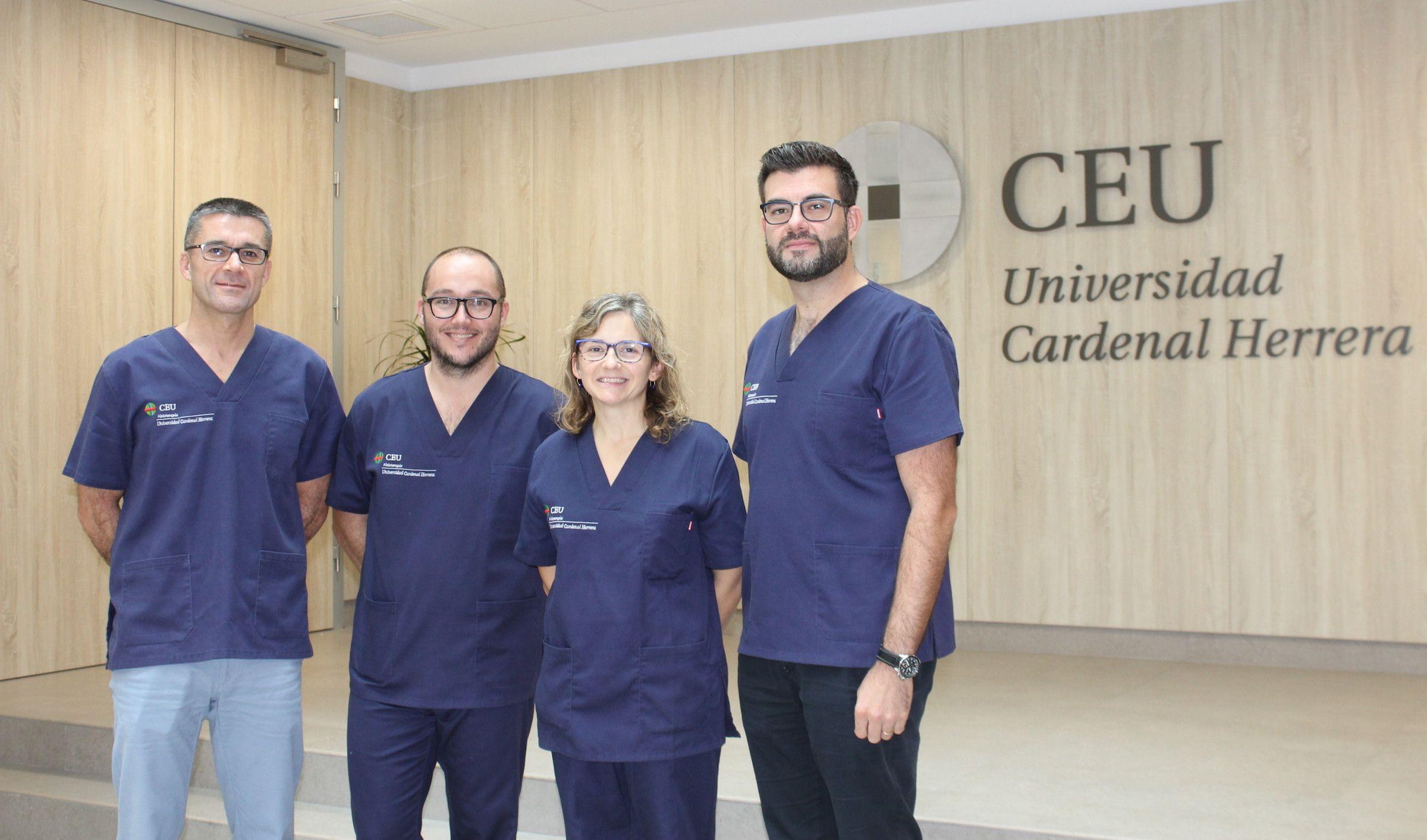 Los profesores de Fisioterapia de la CEU UCH Javier Martínez Gramage, José Martínez Olmos, Eva Segura y Juan José Amer, miembros del equipo investigador.