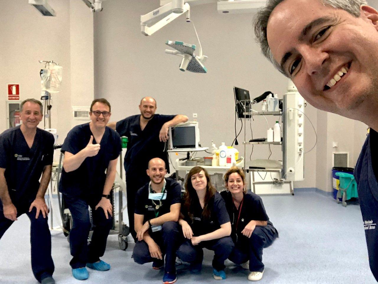 En primer plano, José Ignacio Redondo junto al equipo de Anestesiología Veterinaria de la CEU UCH, y José Miguel Alonso, anestesiólogo de La Fe y director del proyecto ACUTE-19 (segundo por la dcha.).