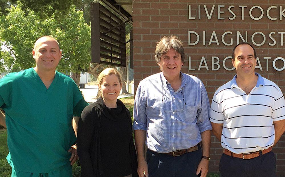 A la derecha, el catedrático de la CEU UCH, Juan Manuel Corpa, con los investigadores de la Universidad de Davis (California) autores del estudio.