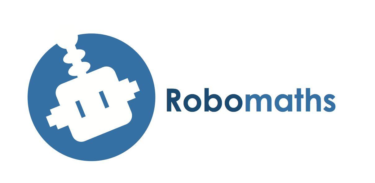 """Logo para el proyecto de Innovación Docente """"Robomaths"""" de la CEU UCH, obra de la estudiante Marina Redondo."""