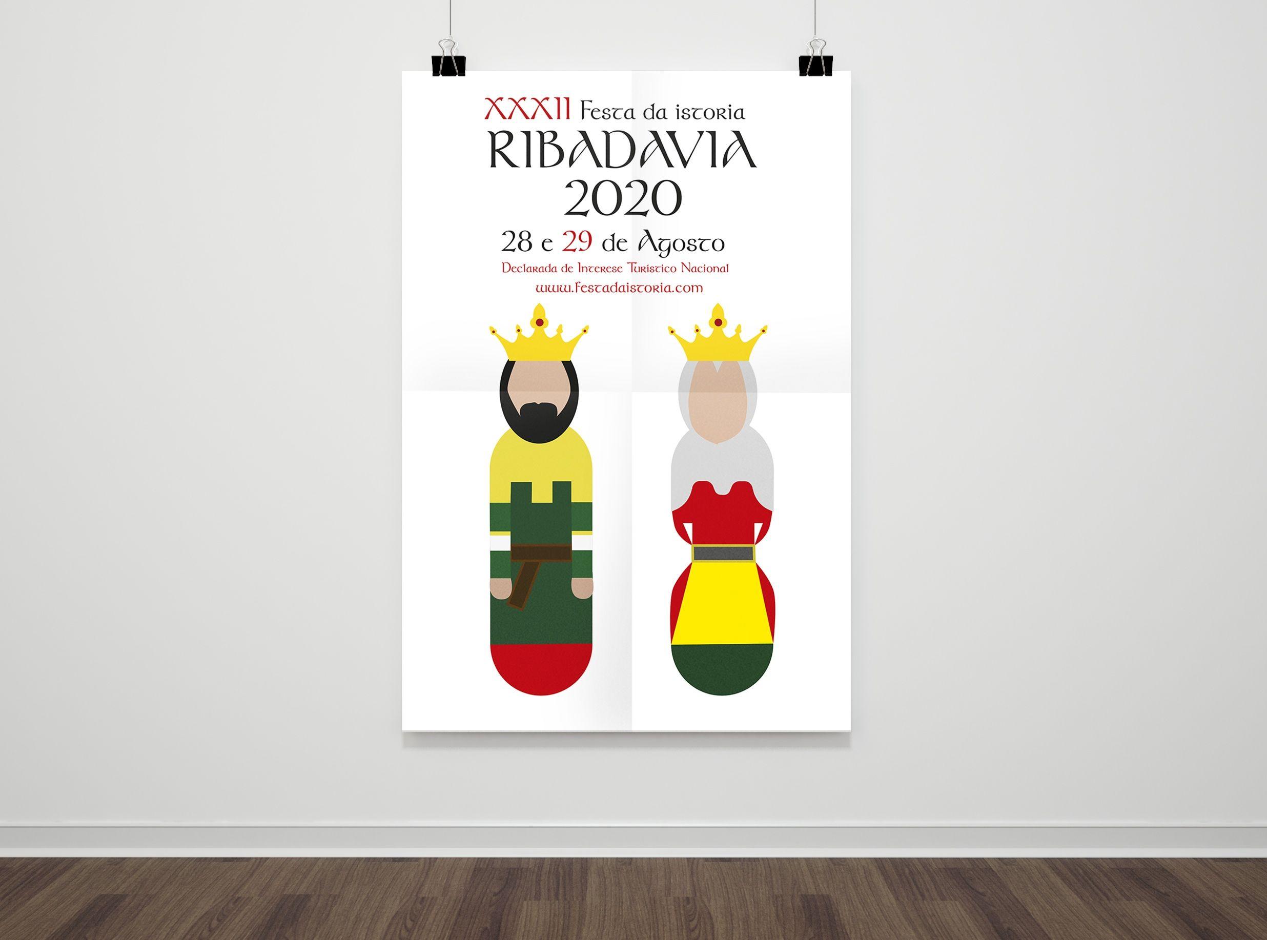 Cartel de las fiestas de Ribadavia 2020, obra de la estudiante de Diseño de la CEU UCH Marina Redondo.