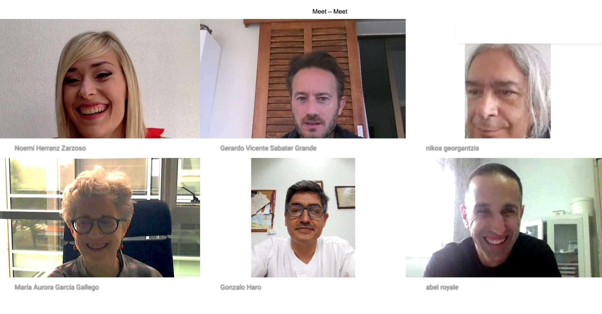 Reunión virtual de los investigadores de la UJI, la CEU UCH de Castellón y de la UBFC de Dijon, autores del estudio sobre patología dual y decisiones económicas que hoy publica Scientific Reports.