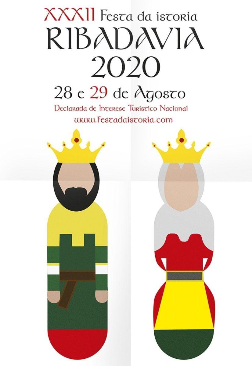Cartel ganador de las fiestas de Ribadavia 2020, obra de la estudiante de Diseño de la CEU UCH Marina Redondo.