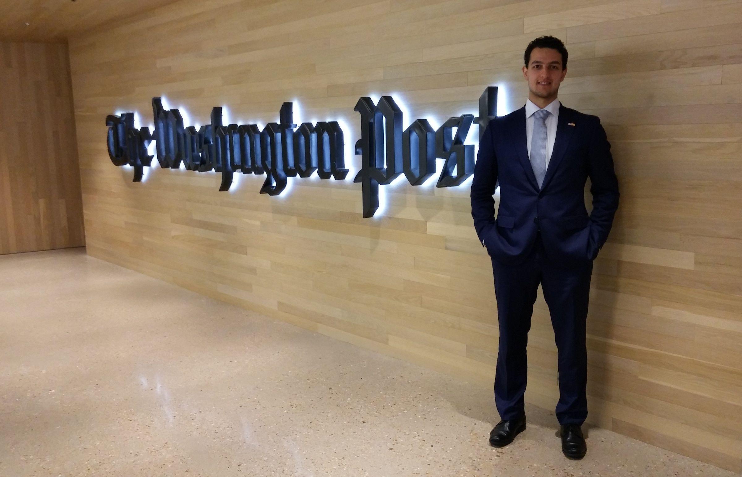 Daniel Torres, durante sus prácticas en la Embajada de España en Washington D.C. en 2018.