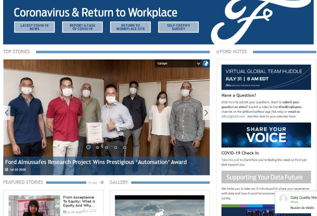 En Ford.com, la noticia del premio junto a la CEU UCH aparece como una de sus Top Stories.