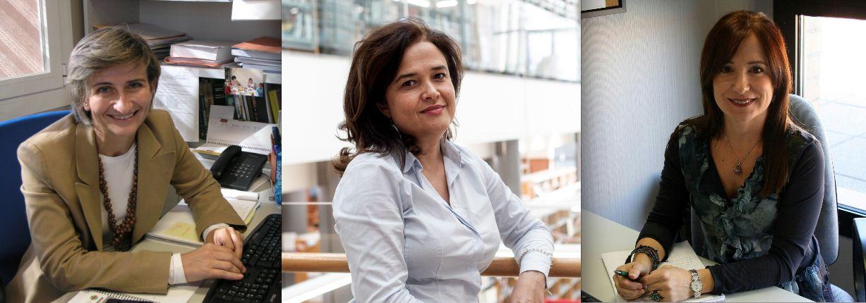 Las profesoras del Departamento de Economía y Empresa de la CEU UCH en Valencia y Elche María Teresa Pastor, María Pilar García Alcober y Ana Isabel Mateos, autoras del mapa de empresas tecnológicas de la CV.