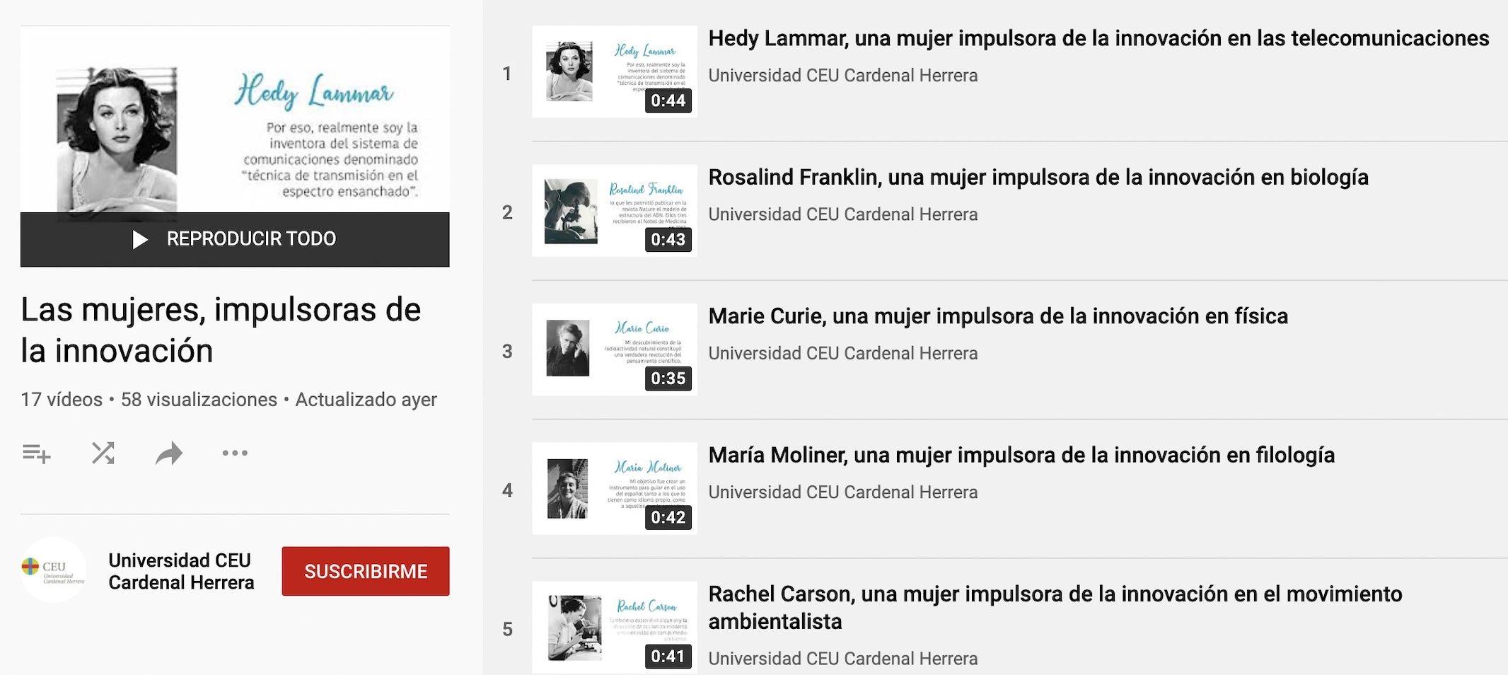 """Exposición virtual """"Las mujeres, impulsoras de la innovación"""", en el Día Internacional de la Mujer en la CEU UCH."""