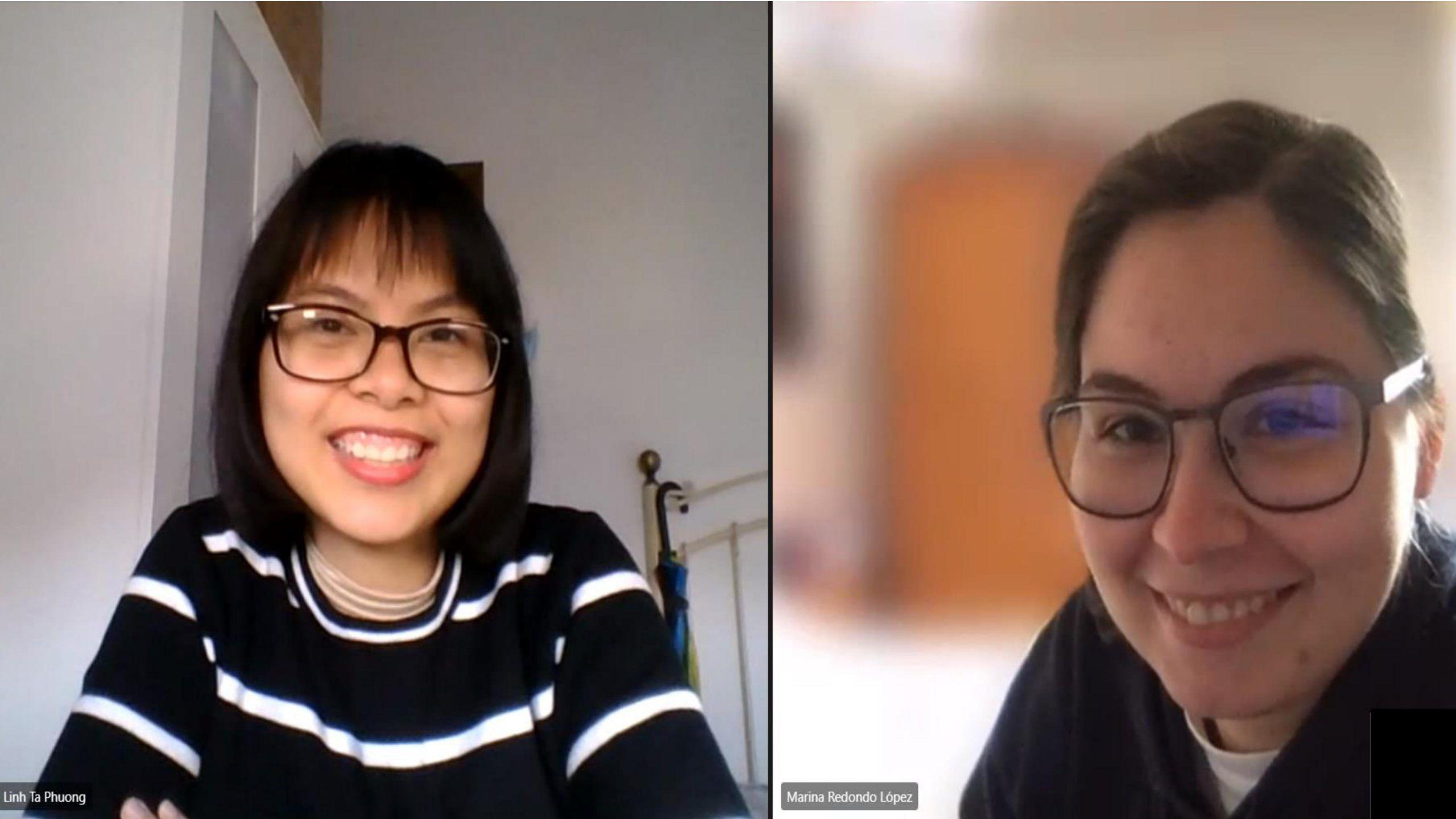 Linh Ta Phuong y Marina Redondo, estudiantes de Farmacia y Diseño Industrial autoras del juego Quién es ella en la ciencia.